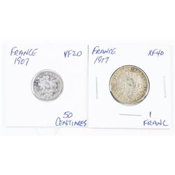 Lot (2) Coins 'France' 1907 50 Centimes VF20 - 191
