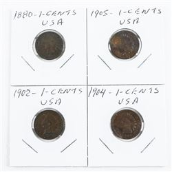 Lot (4) USA Indian Head Coins 1880-1902-1904-1905