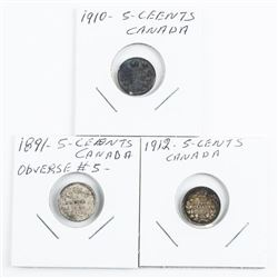 Lot (3) Canada Silver 5 Cents: 1891 - Obverse #5,