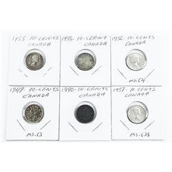 Group of (6) Canada Silver 10 Cents: (1947-MS63) 1