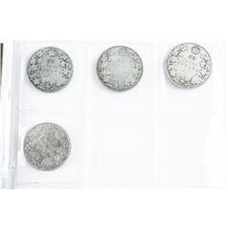 Group (4) Canada Silver 50 Cent Coins: Early 1900s