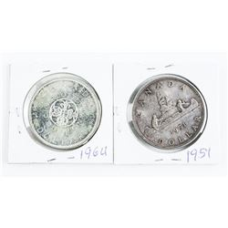 Lot (2) Canada Silver DollarS: 1951 and 1964