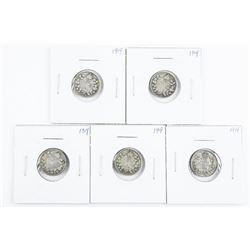 Lot (5) Canada 1919 Silver Ten Cents