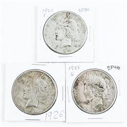 Lot (3) USA Silver Peace Dollars
