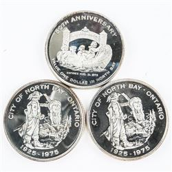 Lot (3) .9999 Fine Silver Trade Dollars (North Bay
