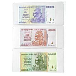 Lot (3) Zimbabwe Original Serial Numbered 5-10-20