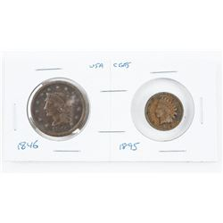 Pair US Pennies - 1846 Large Cent, 1895 Indian Hea