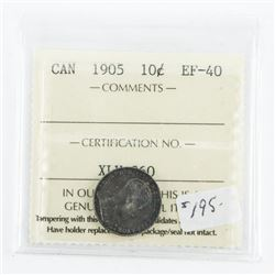 Canada 1905 Silver 10 Cent. EF-40. ICCS. (SAE)