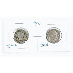 Lot (2) 1913 US Nickel Type I and Type II.