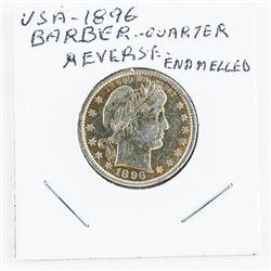 1896 USA Barber Quarter Reverse Enamelled (MIE)