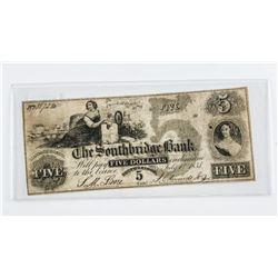 Southbridge Bank, 1858 Five Dollars