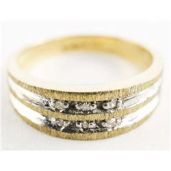 Estate 10kt Gold Band Ring Channel Set, Diamonds S