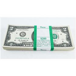 Brick USA 2.00 Notes (100) Crisp GEM UNC In Sequen