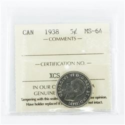 1938 Canada 5 Cent MS-64. ICCS. (IER)