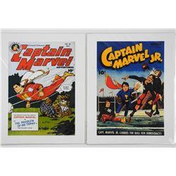 "Lot (2) Captain Marvel Comic Covers 11x14"""