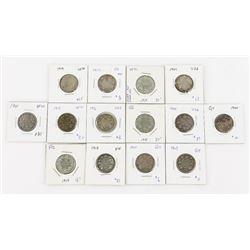 Estate Lot (14) Canada 925 Silver 25 Cent Coins (1
