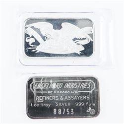 Lot (2) .9999 Fine Silver Bars 'Englehard Industri