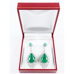 925 Sterling Silver and Jadeite Cabochon Pear