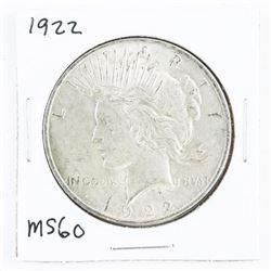 1922 USA Silver Peace Dollar MS60