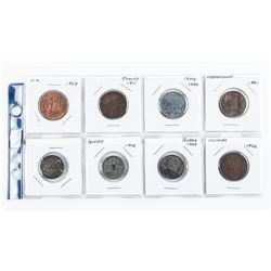 Group of (8) World Coins: Greece, France, Russia,