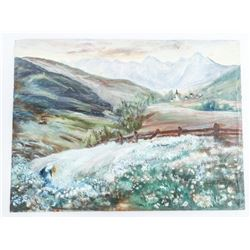 Estate Original Watercolour Canvas, Impressionism