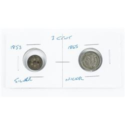 Lot (2) USA 3 Cent Coins 1853 Silver, 1865 Nickel