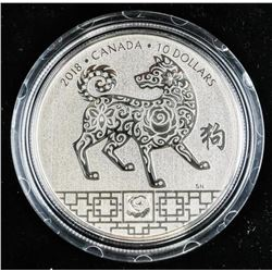 .9999 Fine Silver $10.00 Coin 'Year of the Dog' (K