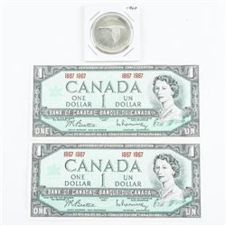Lot (2) 1867-1967 Centennial Notes, Plus Silver Do