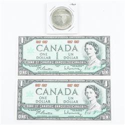 Lot (2) 1867-1967 Centennial Notes, Plus Silver Do