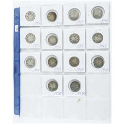 Grouping (14) 925 Silver 25 Cent Coins, 1902-1936