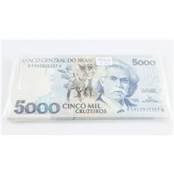 Bank of Brasil Lot (30) P232b 5000 Cruzieros