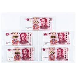 CHINA Lot (5) 100 YUAN 2015 'RMB'