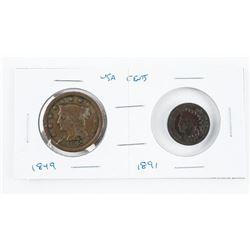 Pair US Pennies - 1849 Large Cent, 1891 Indian Hea