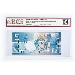 Bank of Canada 2006 5.00 Single Note Replacement C