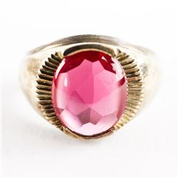 Estate Gents 10kt Gold Ring Cabochon Syn. Ruby 7.2
