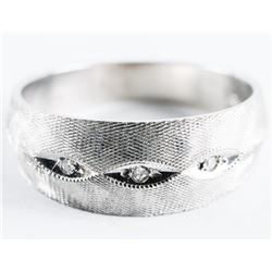Estate 10kt White Brush Gold 3 Diamond Band Ring.