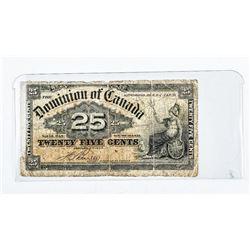 Dominion of Canada - 1900 25 Cent Note. DC15B Bovi
