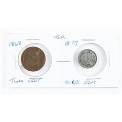 Lot (2) USA 1868 Two Cent and 1873 Three Cent Coin