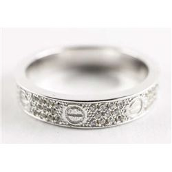 925 Silver Band Size 7.5 Micro Pave Set with Swaro