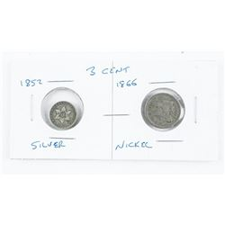 Lot (2) USA 3 Cent Coins 1852 Silver, 1866 Nickel