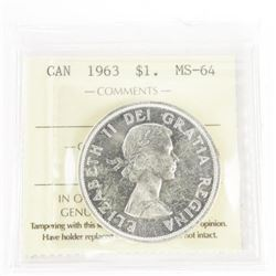 1963 Canada Silver Dollar - MS64, ICCS Certified.
