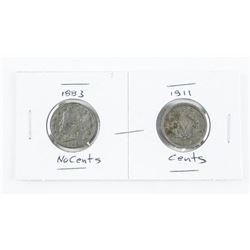 Lot (2) USA Liberty 5 Cents Coins 1883 - No Cents