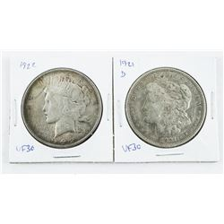 Lot (2) USA Silver Dollars 1921 (D) and 1922 (VF30