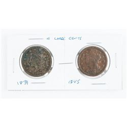 Pair USA Large Cents 2 Types - 1839 and 1845
