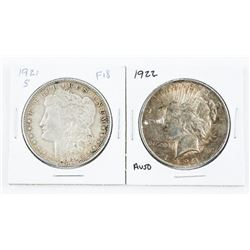 Lot (2) USA Silver Dollars 1921(S) and 1922