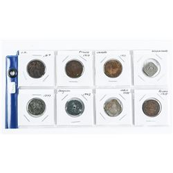 Group of (8) World Coins: UK, France, Russia, Indi