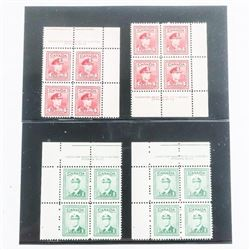 Lot (4) Blocks x 4 - Canada 1 cent and 4 cent Stam