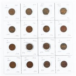 Lot (16) NFLD One Cent Coins