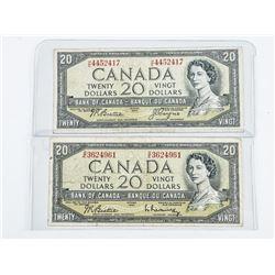 Lot (2) Bank of Canada 1954 20.00 2 Signature Sets