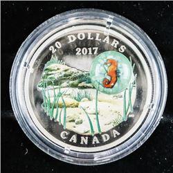 2017 .999 Fine Silver $20.00 Coin 'Seahorse' (SEM)